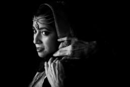 Indian Wedding Hijab on bride by Aunt