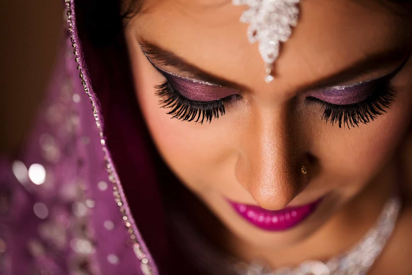 Indian Wedding Photography maang tikka bride hijab
