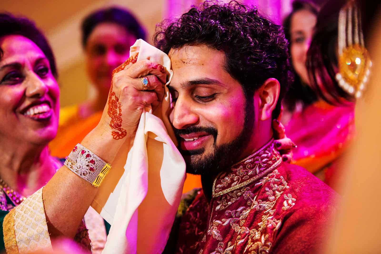 Pakistani Wedding Reception Groom Wiping Forehead